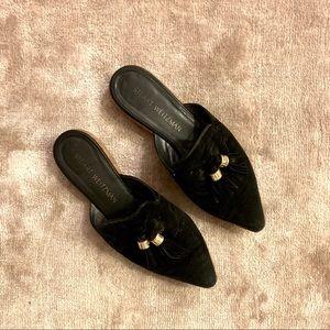 Stuart Weitzman Black Loafer Slides